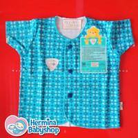 Libby (3-6M) Lengan Pendek Motif - Baju Baby Bayi 3 - 6 Bln - Batik Biru