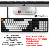 Keychron C2 Wired Hot Swappable WHITE Backlight Gateron Red Switch