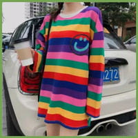 Baju kaos wanita lengan panjang Rainbow Smile