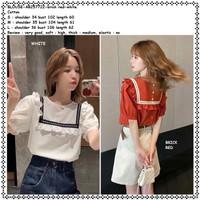 AB257722 Baju Atasan Sailor Wanita Blouse Korea Import Putih Orange
