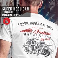 Kaos Indian Motorcycle Bikers Brotherhood Super Hooligan Tour Putih - L