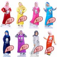 usia 3-9 tahun Baju Muslim Anak Perempuan Gamis Rami Lengan Motif
