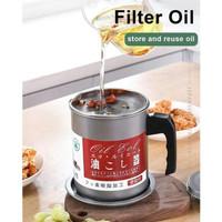 Gelas Saring Wadah Minyak Goreng Bekas Filter Oil Pot Stainles