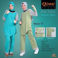 Setelan Baju Senam Olahraga Wanita Muslim Bahan Kaos Adem-QDF47