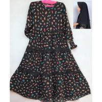 Baju Gamis Muslimah Motif Bunga + Jilbab Anak Perempuan Usia 5-12 Thn