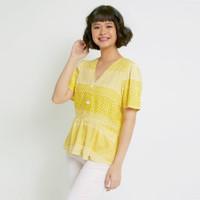 Hickies Baju Wanita Lengan Pendek Rossy Basic Blouse Yellow Diamond
