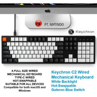 Keychron C2 Wired Hot Swappable WHITE Backlight Gateron Blue Switch