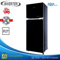 AQUA Kulkas 2 Pintu 220 Liter AQR d270 R Glass Door Low Watt Inverter