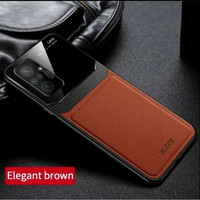 Case Xiaomi Redmi Note 10 pro Softcase leather back glass cover casing - Cokelat, Note 10 Pro