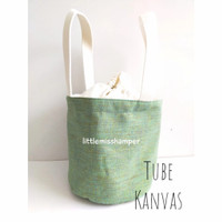 custom bordir kanvas tas serut tube bag souvenir goodie bag
