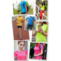 Kaos Olahraga Polos/T-Shirt Bahan Dry Fit Kaos Wanita Lengan Pendek
