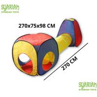 Tenda bermain anak model terowongan bisa dipisah bahan parasut tahan