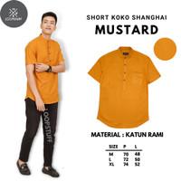 LoopStuff Baju Koko Shanghai Pria Lengan Pendek Warna Kuning Mustard