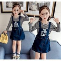 Baju Setelan Overall Jeans Rok Anak Cewek Impor - 9 (2-4tahun)