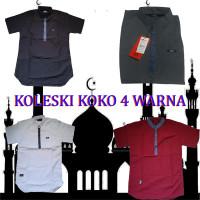 Baju Koko Muslim Pria Lengan Pendek Size M-XXL Navy Putih Maroon Gray.