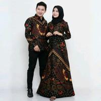 Baju Gamis Batik Couple - Sarimbit Batik Baju Pasangan Keluarga - Gold
