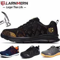 ORIGINAL LARNMERN Pria Sepatu Kerja Safety Keselamatan Ringan Bernapas