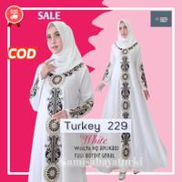 Baju Gamis Abaya Turki Muslim Putih Bordir Turkey Arab Dress Wanita