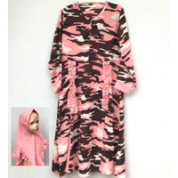 Baju Gamis Muslimah Loreng + Jilbab Anak Perempuan Usia 6-8 Tahun