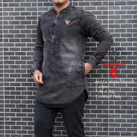 Baju Koko Pria Bahan Jeans Tangan Panjang