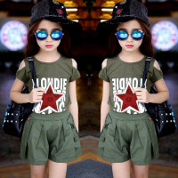Setelan Anak Perempuan Baju Army Star Red Celana Pendek Baju Fashion
