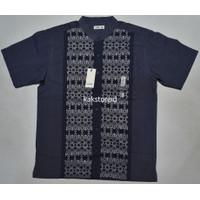 Baju Muslim Koko Pria Lengan Pendek COLE Navy Motif COC 64 ORIGINAL
