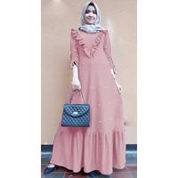 Baju Gamis Wanita Terbaru Paramita Maxi Dress Fashion Muslim - Salem, all size