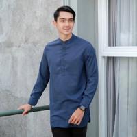 Baju Gamis Kurta Pakistan Pria Salman Lengan Panjang Katun Madinah - Blue Denim, M