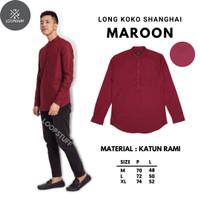 LoopStuff Baju Koko Shanghai Pria Lengan Panjang Warna Merah Maroon