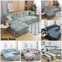 cover sofa L santai/sarung sofa Letter L motif+free 2 bh sarung bantal