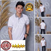 Kaos Polo Shirt Polos Putih kerah abu/kaos kerah pria/baju kaos kerah - Putih kerah abu, S