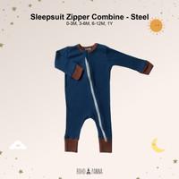 SLEEPSUIT ZIPPER COMBINE (Baju Tidur Bayi) Gambar 1-6 - STEEL, 6-12M