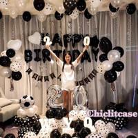 Paket balon birthday polkadot hitam putih pesta ulang tahun