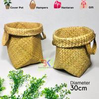 TERLARIS Grosir Bakul Cover Pot Anyaman Purun (size L)