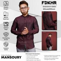 Fadkhera Mansoury Baju Koko Modern Lengan Panjang Merah Maroon