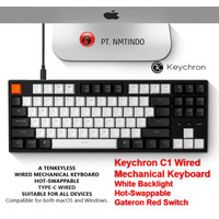 Keychron C1 Wired Hot Swappable White Backlight Gateron Red Switch