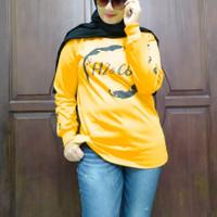 Baju Wanita BigSize / Kaos Wanita Jumbo / Atasan Lengan Panjang Jumbo - kuning bulan, XXXXXL