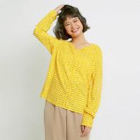 Hickies Baju Atasan Wanita Kerah V-Neck Arumi Basic Blouse Yellow Patc