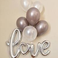 Paket 1 set balon foil love sambung + balon latex tema wedding anniv