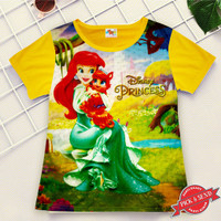 Kaos Baju Anak Cewek Printing Motif D Princes 1 - 12 Thn - 2-3 tahun