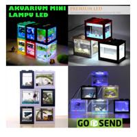 Akuarium Ikan Cupang Akrilik Aquarium Mini Acrylic Lego USB LED Colour