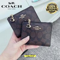 (100% ORIGINAL) COACH Snap Mini Wallet In Signature Mahogany with Zip