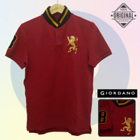 Size M-LD98 Giordano Original POLO SHIRT PRIA Kaos Kerah Cowo Merah