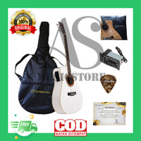 Gitar Akustik Listrik Mandalika JW-01 Putih Equalizer eq7545r Original