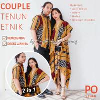 Baju Couple / Kemeja Pria / Dress Silang bahan Tenun Etnik kode SAE18