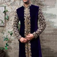 Baju Koko Koler Stand Pola Emas Muda Mantel Etnis India Atasan Muslim
