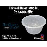 TEMPAT SALAD BUAH BOWL UK 1000 ML + TUTUP PLASTIK @25 PCS THINWALL CUP