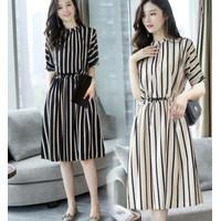 long dress playsuit hitam / baju terusan rok skirt wanita / blackpink