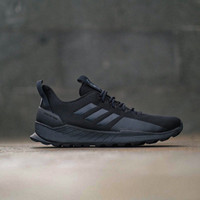 Adidas Questar Trail Full Black 100% Original BNWB Sepatu Hitam Polos - Hitam, 40