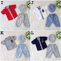 Baju Pesta Setelan Kemeja Anak Bayi Laki Cowok Dasi Topi Celana Murah